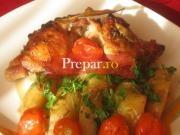 Pulpe marinate cu cartofi la cuptor si legume la gratar cu mujdei