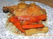 Friptura de carne de pui  la tava cu legume